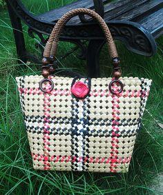 Ladies Hand-woven Shopping Beach Basket Fully by ZAKKAgardenart