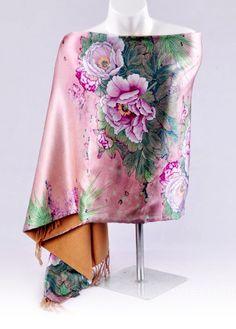 PEONY LONDON LILAC PINK FLOWER PRINT LADIES SUMMER SCARF-BEAUTIFUL GIFT 70-180CM