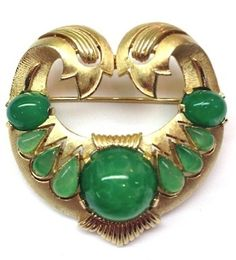 RARE Vtg Crown Trifari Jewels of India Moghul Brooch Pin Jade Glass Cabochons | eBay Sold for $ 223
