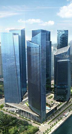 Marina Bay Financial Centre Towers, Singapore by Kohn Pedersen Fox Associates (KPF) and DCA Architects :: 50 floors, height 245m