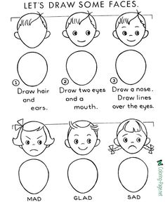 Drawing Faces Learn how to draw faces and learning about emotions for children - Learn to draw is fun! How to draw faces - Learn to draw with step by step drawing instructions. Drawing Videos For Kids, Easy Drawings For Kids, Art For Kids, Kids Drawing Lessons, Children Drawing, Learn Art, Learn To Draw, Learn Drawing, How To Draw Kids