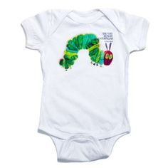 Boasting the distinctive graphic from the beloved children's book, this comfy, all-cotton bodysuit is easy to slip on and cozy for your little caterpillar. Caterpillar Book, Hungry Caterpillar Party, Baby Shower Gifts, Baby Gifts, Toddler Gifts, Book Shirts, Baby Bodysuit, Baby Onesie, Future Baby