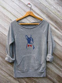 you handsome devil Boston Terrier Sweatshirt, Bowtie Dog Sweater, Grey Sweatshirt, S,M,L,XL. $34.00, via Etsy.