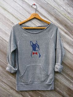 you handsome devil Boston Terrier Sweatshirt, Bowtie Dog Sweater, Grey Sweatshirt, S,M,L,XL. $34.00, via Etsy.