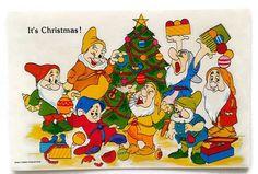 Vintage Disney Christmas Card The Seven Dwarfs Numbered Production USA Originals