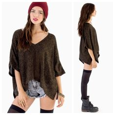 Sweater V front and back                                                  35% cotton, 65% polyester                                             Length is 22inches according to site                        Good condition Sweaters
