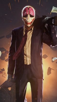 Payday 2, game, shooter, stealth, FPS, Houston, clown, suit, rifle, money, robbery, bank