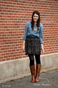 Chambray top + black print skirt + black tights + brown boots