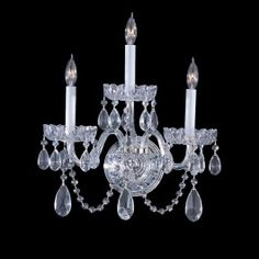 3 Light Traditional Crystal Wall Sconce, Chrome
