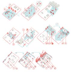 The task was to develop suggestions for the renovation of the houses and to provide ideas for the urban architectural vision for improving Albertslund Syd. Conceptual Architecture, Architecture Drawings, Architecture Diagrams, Architecture Layout, Big Architects, Landscape Architects, Landscape Diagram, Axonometric Drawing, Planer Layout