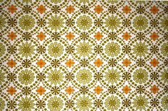Green and Orange Flower Wallpaper Texture