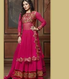 Buy PINK embroidered net and GEORGETTE semi stitched salwar with dupatta anarkali-salwar-kameez online