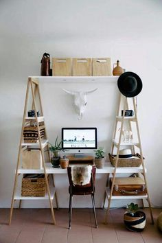 This diy work space looks totally doable, and totally cozy! Love it!