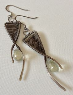 Green amethyst beads with silver wire wrapped earrings - featured in Step-by-Step wire jewelry magazine as tutorial