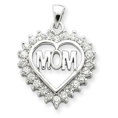 Sterling Silver Cz Heart Mom Pendant Shop4Silver. $35.52. Save 66% Off!