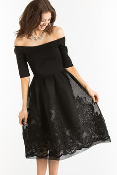 Karis Black Mesh Off the Shoulder Dress