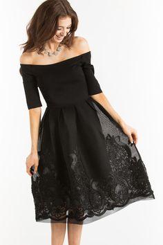 Karis Black Mesh Off the Shoulder Dress