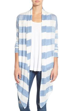 Adding a nautical vibe to mom's wardrobe with this cute linen cardigan in blue and white stripes.