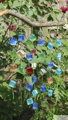 Glass Mosaic Wind Chime -Garden Decor with the Yard Art LadiesGlass mosaic tiles become a lovely wind chime as part of the Summer Outdoor Art Extravaganza with the Yard Art Ladies as part of their garden decor seriesRustic & Refined: Yard Art Fest - Rusty Glass Wind Chimes, Diy Wind Chimes, Mosaic Art, Mosaic Glass, Glass Tiles, Stained Glass, Mosaic Tiles, Garden Crafts, Diy Crafts