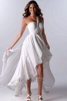 A-Line/Princess One Shoulder Chiffon Wedding Dress - IZIDRESSES.com at IZIDRESS.com