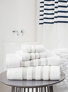 Shop towels featuring delicate embroidery, timeless jacquards, and quality terry for stylish additions to your chic bathroom. White Towels, Basement Bathroom, Natural Linen, Velvet, Elegant, Cotton, Chic Bathrooms, Towel, Towels