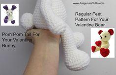 Amigurumi To Go: Regular Legs For Valentine Bear and Pom Pom Tail F. Crochet Amigurumi, Crochet Teddy, Crochet Bear, Crochet Animals, Crochet Dolls, Free Crochet, Crochet Toys Patterns, Amigurumi Patterns, Stuffed Toys Patterns