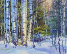 "Daily Paintworks - ""Four Aspen"" - Original Fine Art for Sale - © Leona Fox"