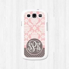 Personalized Samsung Galaxy S3, Samsung Galaxy S4, Pink and Taupe Damask and Polka Dots Monogram, Phone Case