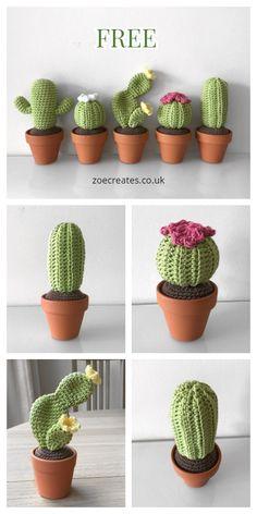 Crochet Diy, Cactus En Crochet, Crochet Cactus Free Pattern, Crochet Amigurumi Free Patterns, Crochet Flower Patterns, Crochet Flowers, Crochet Ideas, Simple Crochet, Crochet Food