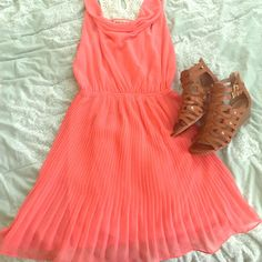Hp Cute Coral Dress With Lace Back Detail.