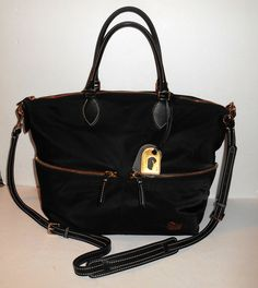 "DOONEY & BOURKE Black Nylon Pocket Satchel Crossbody Leather Handles & Trim 15""W #DooneyBourke #Satchel"