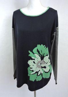 J. Jill Women Blue Green Floral Long Sleeve Cowl Neck Sweater Size L Large #JJill #Crewneck