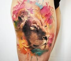 Lion Head tattoo by Adrian Ciercoles