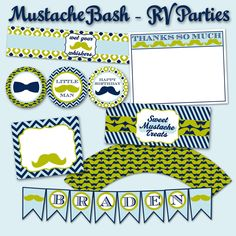 INSTANT+DOWNLOAD+Mustache+Bash+Birthday+Party+by+RVparties+on+Etsy,+$20.00