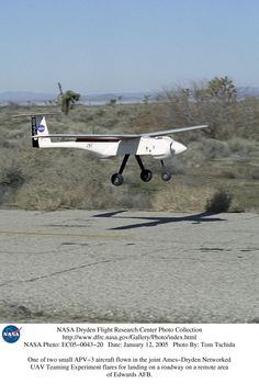 APV-3 flares for landing on a roadway on a remote area of Edwards AFB.