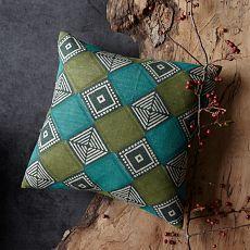 West Elm Hand-Blocked Silk Terrain Tile Pillow Cover