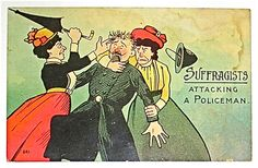 These incredible vintage postcards are from 1900 to from the propaganda used against the women's suffrage and the suffragettes, where . Jimi Hendrix, Les Suffragettes, Women Suffragette, University Of Northern Iowa, Suffrage Movement, Horror, Vintage Postcards, Equal Rights, Posters