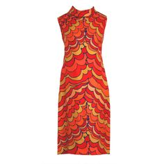 1960's Pierre Balmain Op-Art Psychedelic Silk Mod Shift Dress | From a collection of rare vintage day dresses at http://www.1stdibs.com/fashion/clothing/day-dresses/