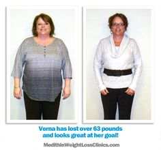 Verna lost 63 Pounds with Medithin Weight Loss Clinics.