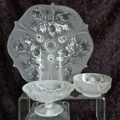"Fenton Glass ""Pineapple"" 3 pc. Group, Satin Crystal from thedevilduckcollection on Ruby Lane"