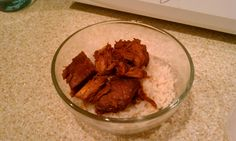 Honey-sauced-chicken....its more saucy not that I've used the juice from the crock pot. yum.