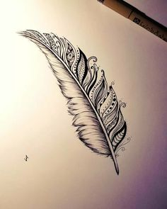 Feather Drawing, Feather Tattoo Design, Feather Art, Flower Tattoo Designs, Mandala Feather, Mandala Tattoo, Mandala Art, Henna Feather, Lotus Mandala Design