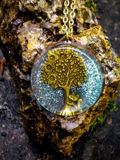 Orgonite Tree & Cat Necklace  Free Shipping In by FountainOfSpirit