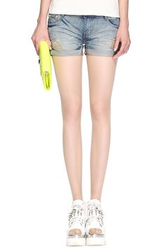 #ROMWE Hollow-out Pocketed Denim Shorts