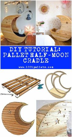 """This tutorial by Jochem Dijkstra in collaboration with will describe how to make the world famous half-moon cradle out of three repurposed wooden pallets. This half-moon cradle is inspired by """"Le Berceau lune d'Heidi"""" from Crème Anglaise. Pallet Crafts, Diy Pallet Projects, Wood Projects, Pallet Ideas, Sewing Projects, Baby Furniture, Pallet Furniture, Furniture Design, House Furniture"""