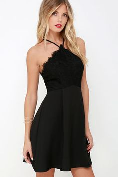 Pleats and Thanks Black Lace Skater Dress at Lulus.com!