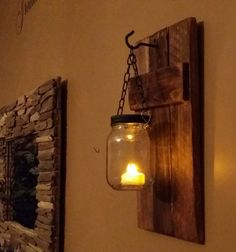 Rustic Mason Jar Wood Candle Holder  sconce by TeesTransformations