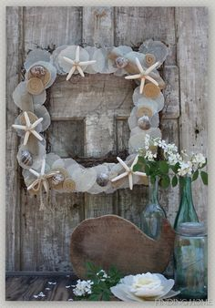 Beach Inspired Summer Wreath {Guest Post} - Ask Anna Seashell Wreath, Seashell Crafts, Beach Crafts, Diy Crafts, Rope Crafts, Open House Parties, House Party, Summer Mantel, Fleur Design
