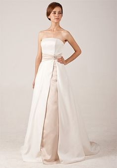 Simple Strapless Satin Wedding Dress with Amazing Contrast Colors $337.00 on sale $169.00
