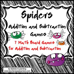Spiders: Addition and Subtraction Spiders Math Games from Games 4 Learning is a collection of 7 Addition and Subtraction Math Board Games with a Spiders theme. $